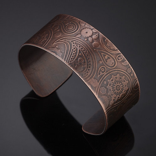 Simple Copper Steampunk Paisley Bracelet