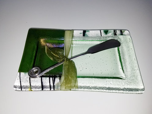 Moss Road Butter Dish/w Spreader