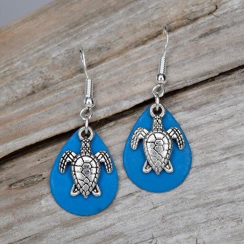 Turtle Charm Blue Earrings