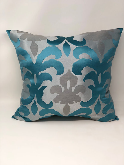 Silver and Teal Embossed Pillow