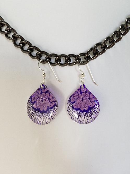 Large Teardrop Flower Earrings - Purple
