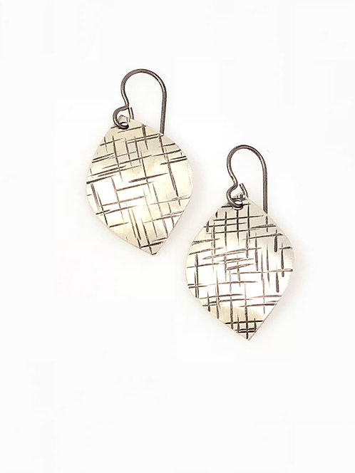 Textured Silver Leaf Earrings