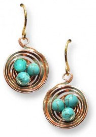 Nest Circular Copper Robin Blue Earrings