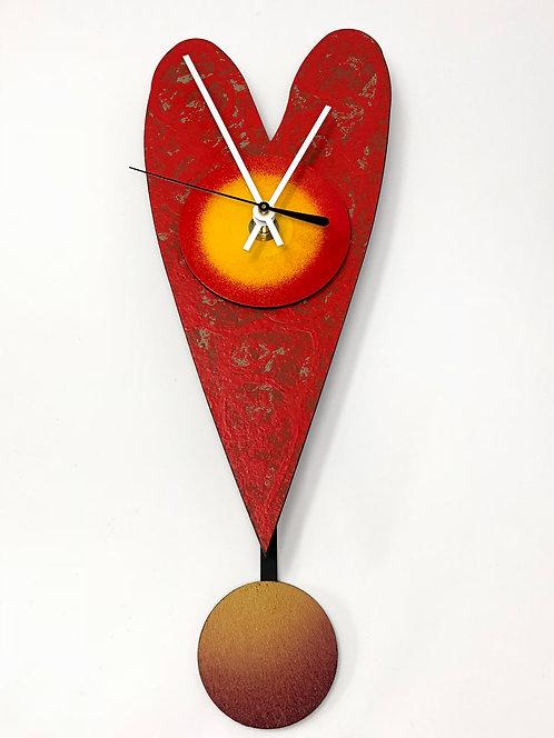 Red D Heart Clock
