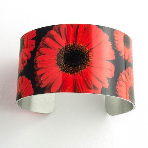Red Gerbera Daisy Wide Cuff Bracelet