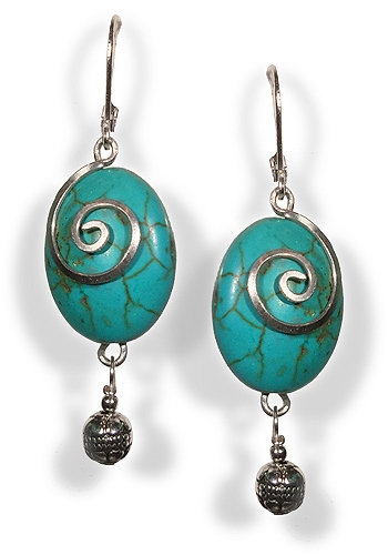 Arabesque Turquoise and Silver Earrings