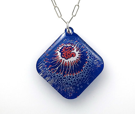 Large Square Crustacean Necklace - Blue/Red