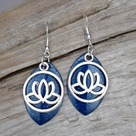 Blue Sparkle and Silver Lotus Blossom Earrings
