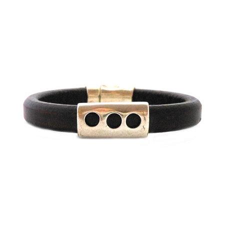 Men's Silver Moon Black Leather Bracelet - Medium