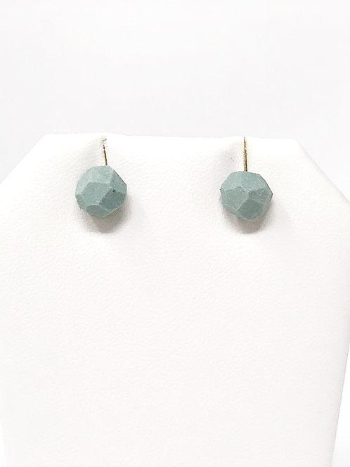 Mint Petite Faceted Porcelain Stud Earrings