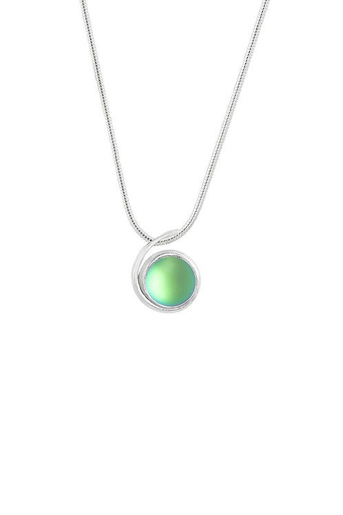 Small Silver Green Frosted Wave Pendant