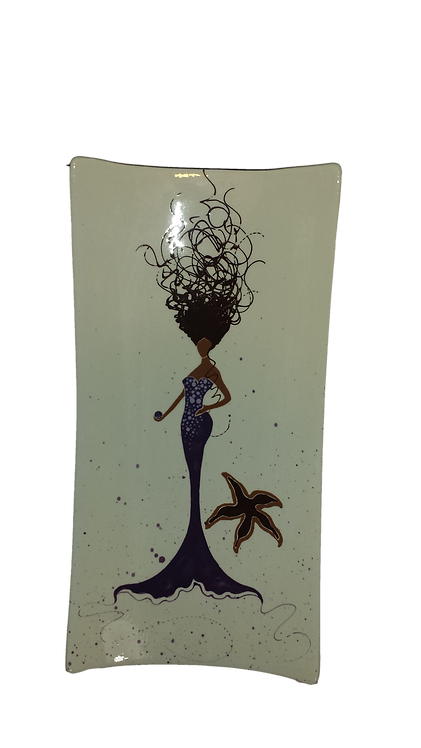 Purple Daphne Mermaid w/Starfish Rectangular Platter
