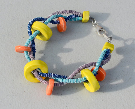 Qua'Sar Vinyl Bracelet with Ceramic Beads