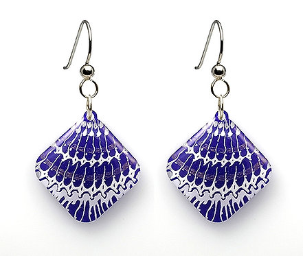 Purple Painted Shell Earrings