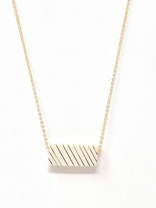 Pinstripe Porcelain Pendant Necklace