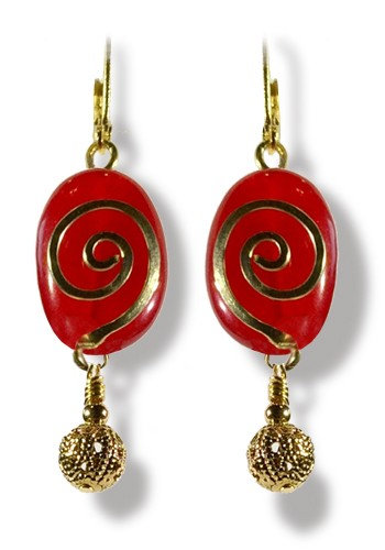 Arabesque Red Jade and Gold Earrings