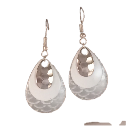 White Patterned Earrings