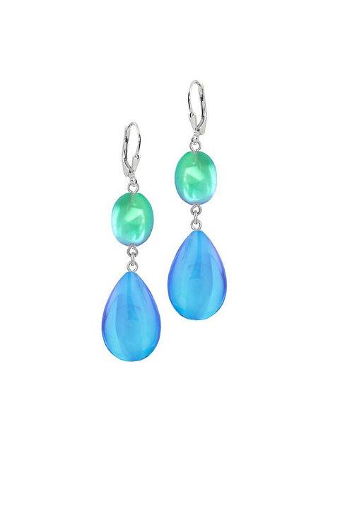 Double Drop Blue/Green Polished Earrings