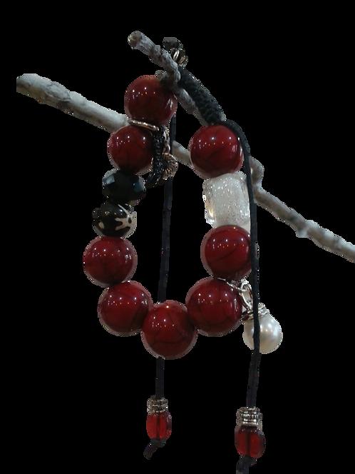 Beaded Red Embelished Bracelet