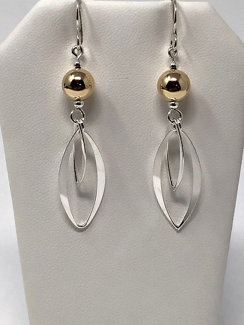Silver With Gold Bead Earrings