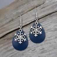 Ocean Blue Earrings with Silver Snowflakes