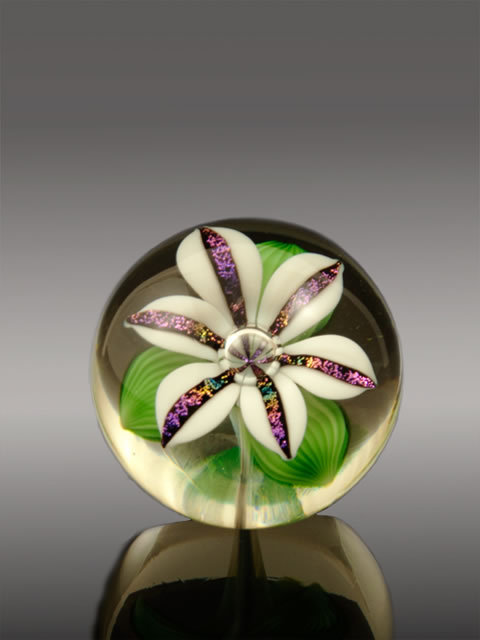 Dichroic White Lily Paperweight