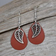 Rust Colored Earrings with a Leaf Charm
