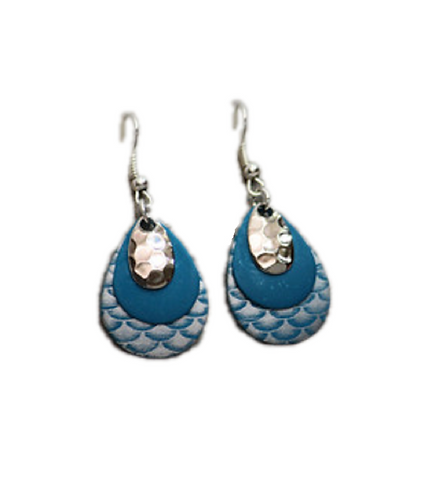 Multi-Blue and Silver Earrings