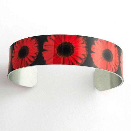 Red Gerbera Daisy Medium Cuff Bracelet