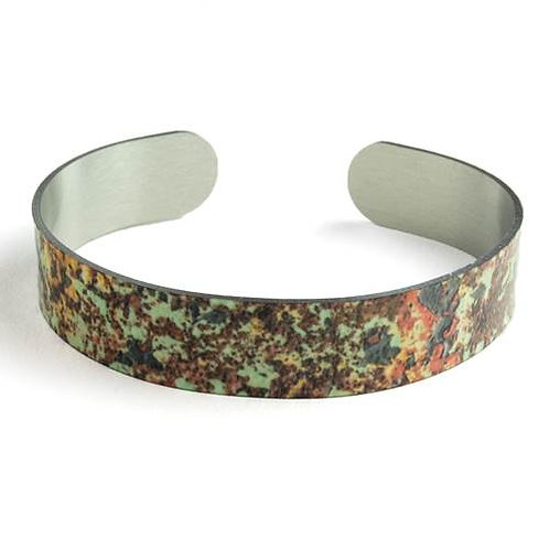 Green & Rust Thin Cuff Bracelet