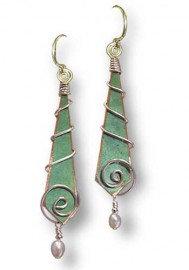 Pearl Swirl Earrings Wrapped in Silver
