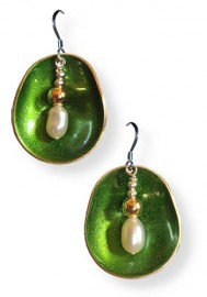 Half Shell Green Earrings