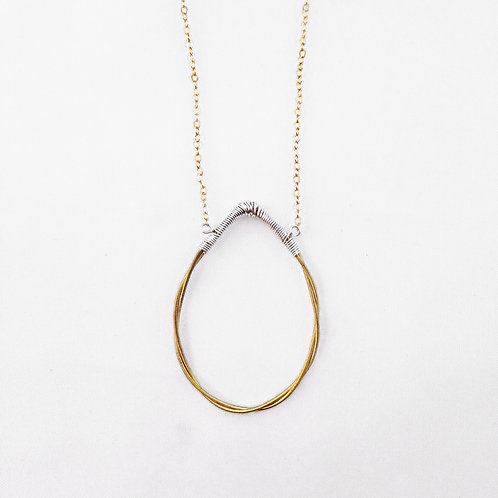 Twisted Tear Drop Necklace (Mixed Metal)