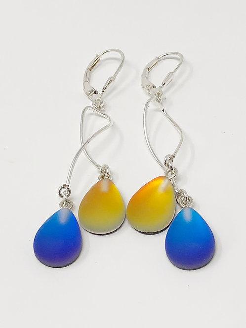 Silver Swirl Earrings - Frosted Blue/Fire