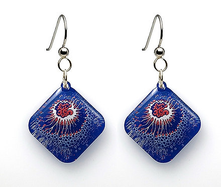 Small Square Crustacean Earrings - Blue/Red
