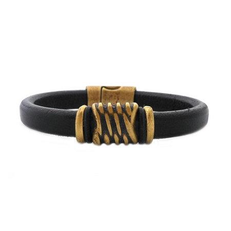 Men's Brass Energy Brown Leather Bracelet - Large