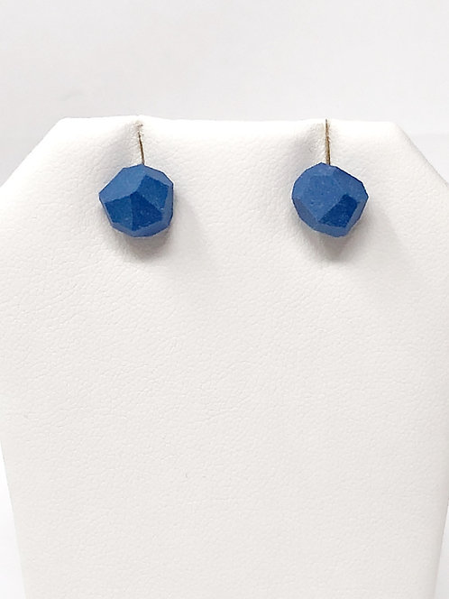 Delph Blue Faceted Porcelain Stud Earrings