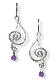 Treble Clef Earrings with Gem
