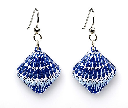Blue Painted Shell Earrings