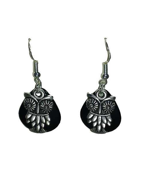 Black with Silver Owl Earrings