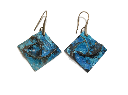 Square Pinwheel Earrings - Bryzentine Blue