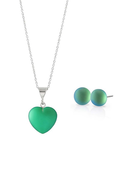 Small Frosted Green Heart Pendant