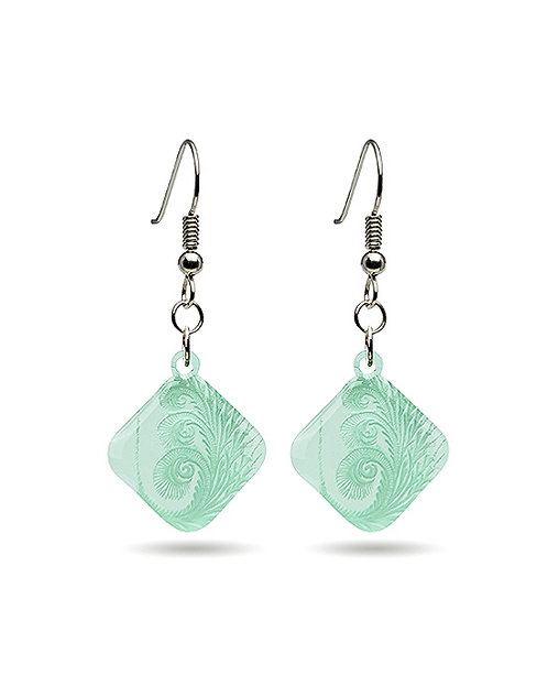 Green Clear Spiral Earring