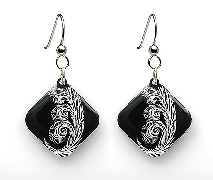 Black Painted Spiral Earrings