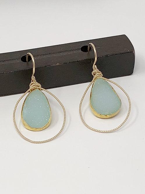 14k Gold Fill Earrings w/Electroplated Pale Blue Druzy
