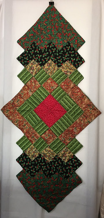 Quilted Christmas Patterns Table Runner