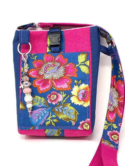 Quilted Cross-body Floral Phone Pouch