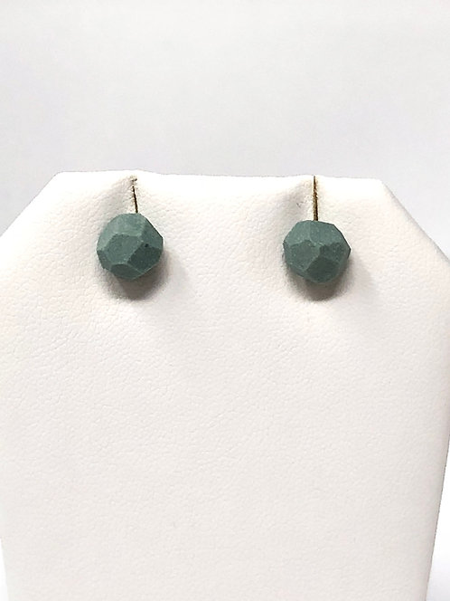 Dark Teal Faceted Porcelain Stud Earrings