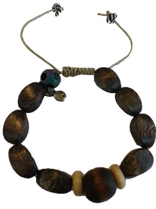 Mens Bracelet/Wooden & Beige
