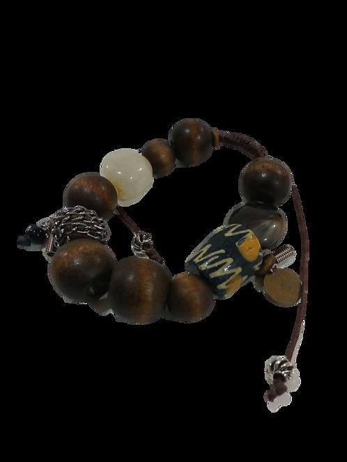 Mens Bracelet/Wood Embellished